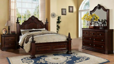 New 4-Post Queen/King 4Pc Bedroom Set (Bed/D/M/N) Traditional Furniture