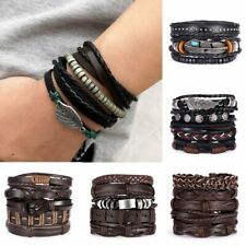 Multilayer Leather Bracelet Handmade Men Women Adjustable Wristband Bangle New