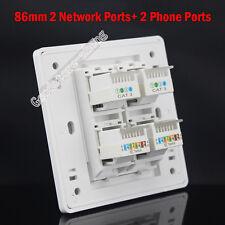 Wall plate 2 Port Cat3 RJ11 + 2 port Cat5e Panel Faceplate RJ45 RJ11