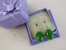 Silver Plated Jade Drop/Dangle Oval Costume Earrings