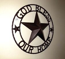 "32"" GOD BLESS OUR HOME BARN STAR METAL WALL ART WESTERN HOME DECOR RUSTY ART"
