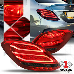 Red/Smoke *TRON LED BAR* Neon Tube Tail Light for 15-18 Mercedes W205 C-Class