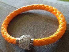 Orange Braided Leather Bracelet Clear Rhinestone Embellishment Magnetic Closure