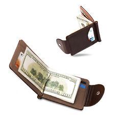 2417762b80 Portafoglio in pelle da uomo clip fermasoldi porta carte di credito piccolo  slim