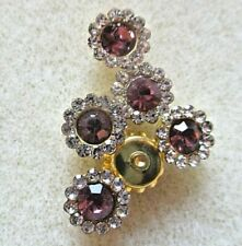 10PCS 8MM AMETHYST CRYSTAL GEMS SUNFLOWER GOLD BACK SEW ON BUTTONS BEADS