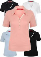 Ladies Polo Pique Cotton Top T Shirt Tee S Oliver New Womens Button Collar Soft