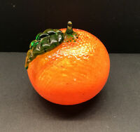 MURANO-TANGERINE GLASS Paperweight Fruit Green Leaf & Stem