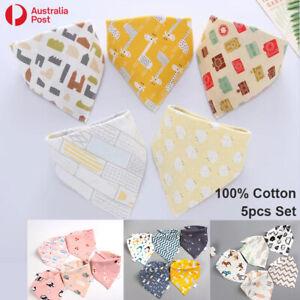 5pcs Baby Bib Set 100% Cotton Kid Boy Girl Triangle Bandana Gift Adjustable