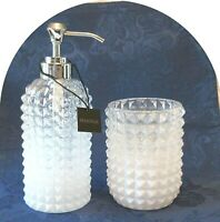 Envogue White Clear Glass Farmhouse Soap Pump Toothbrush Hobnail Diamond Cut New