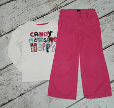 """GAP KIDS Girls """"Candy Makes Me Happy"""" Tee and Pink Corduroy Pants 5 5T EUC"""