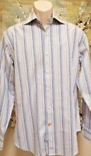 Thomas Deam Mens Shirt Dress Medium Flip Cuff  Blue White Striped