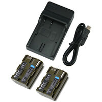 TWO BATTERIES + CHARGER Pack CANON BP-511 EOS 20D 40D 50D 300D Camera Battery X2