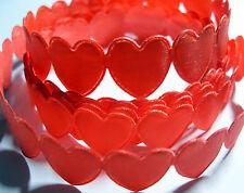 1 metre of PALE RED Heart Shaped Braid / Ribbon - each heart is 16mm wide & deep