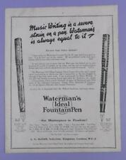 Waterman's Ideal Fountain - Music Writing..., c1920s Full Page Magazine Advert