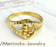 24K Solid Pure Gold Flower Band Ring 2.77 Grams. Size 6.75