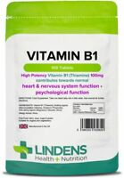 Vitamin B1 (Thiamine) 100mg 100 Tablets Mosquito Repellent Supplement Lindens UK