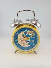 More details for vintage garfield zeon twin bell moon alarm clock 1970s