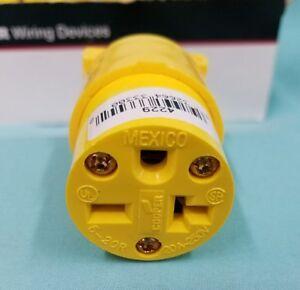 Cooper 4229-BOX Heavy Duty commercial grade vinyl connectors yellow 20A 250V NEW