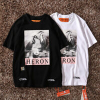 2019 Heron Preston T-shirt Crane Pattern Black White HP Tops Fashion Summer TEE
