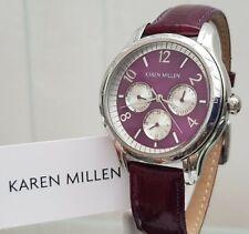 KAREN MILLEN Ladies Watch Purple glossy Leather strap Day&Date RRP£189 NEW (KM20
