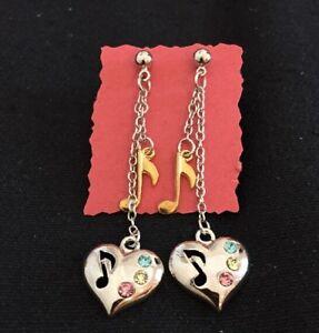 Silver & Gold Tone Music Note Heart Earring w Rhinestones gift lover J1049 NEW