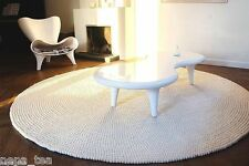 white pom pom felt balls nursery rugs size 140 cm in  diameter home office decor