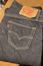 Levis 501 34W 32L Men's Jeans Raw Denim Rigid Black Shrunk To Fit Vintage Style