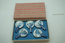 VINTAGE JAPANESE PORCELAIN MINIATURE RICE PADDLES SET 5 IN BOX HAND PAINTED BLUE