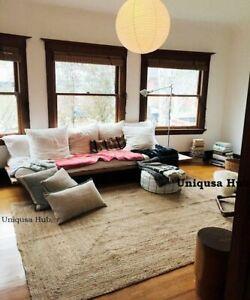 Rug 100% Natural Jute 5x8 Feet Handmade Carpet Runner Rug Floor Area modern rug