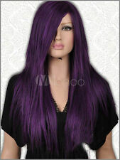 COS wig New sexy vogue women's long Dark Purple Mix Black Cosplay free wigs cap