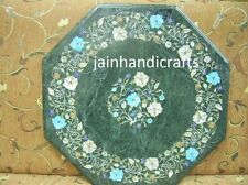 """GREEN 18"""" MARBLE MALACHITE  DINING COFFEE SIDE TABLE TOP MOSAIC LAPIS FINE INLAY"""