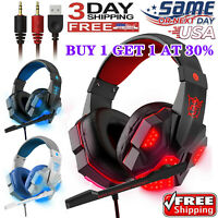 3.5mm Gaming Headset Mic LED Headphones Stereo Bass Surround For PC,Xbox One PS4