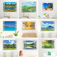 AU_ CW_ Qu_ KF_ 3D Window View Removable Wall Sticker Vinyl Art Room Decal Decor