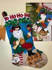"Bucilla~  18""Felt  Christmas Stocking,~Handmade,Finished ~""PIRATE SANTA"""