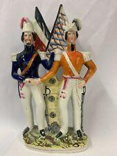 "Victorian Staffordshire Flatback Figurine of Soldiers H12 1/2"""
