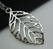 Free Tibetan Silver Hollow Tree leaves Simple Pendant Charm chain Necklace Gift