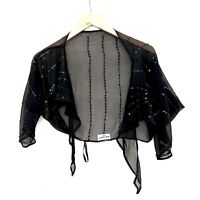 Atmosphere Ladies Top bolero shrug Black Sequins Size Small Tie front party wrap