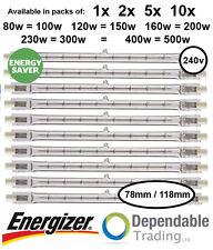 1x Energizer 120w 150w 78mm Tube Tungstène Halogène basse Consommation R7s