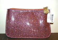 BATH & BODY WORKS PINK GLITTER SPARKLY BAG MAKEUP COSMETIC COIN PURSE WALLET