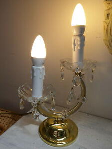 Kristall Lampe Leuchte Tischlampe Maria Theresia Stil Messing Gold