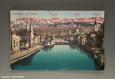 Ansichtskarte ZÜRICH und die ALPEN um 1919