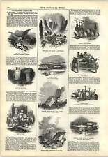 1847 Domestic Bible illustration peau bouteilles cratère Etna tremblement de terre fesses engravi
