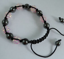 1pcs Disco Ball Hematit Resin Crystal Bead Braided Adjustable Bracelet 12mm