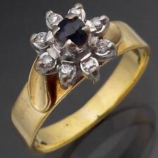 Retro 70's 18k Solid Yellow GOLD SAPPHIRE DIAMOND Daisy CLUSTER RING Sz L1/2