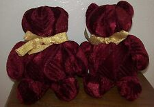 2 Small Burgundy Red Velvet Teddy Bears Plush Toy Doll - Very Cute