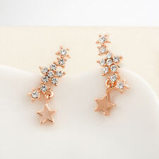 Lady 18K Rose Gold Filled SIMULATED DIAMOND Stars Stud Earrings Stunning Gift