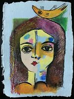 "PAINTING ORIGINAL MIXED MEDIA ON HANDMADE PAPER CUBAN ART 8.5X12"" By LISA."