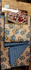 3 PC Kitchen Microfiber SET: Drying Mat & 2 TOWELS, BLUE FLOWERS, blue by BH