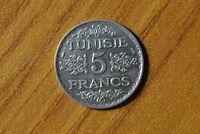 MONETA TUNISIA 5 FRANCHI 1934 AHMAD PASHA ARGENTO SILVER SUBALPINA