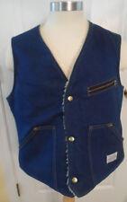 Vintage Mens Size L Carter's Watch The Wear Blue Denim Sherpa Vest Lebanon NH